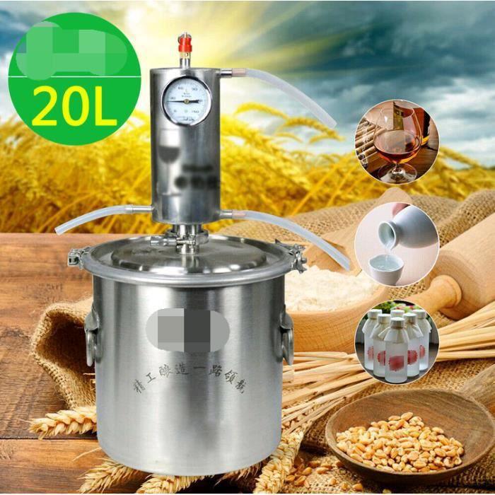 Bricolage Ménage 20 Litres Alambic Distillateur avec Température Vapeur Cuivre Eau Vin