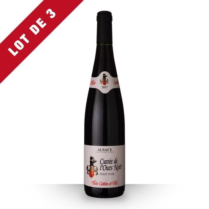 Lot de 3 - Théo Cattin Cuvée de l'Ours Pinot Noir 2017 AOC Alsace - 3x75cl - Vin Blanc