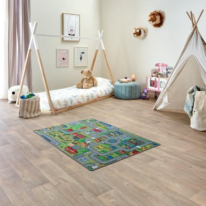 Tapis de Jeu Enfant 95x133cm, Playcity - Tapis Circuit Voiture - Lavable - Antidérapant - Carpet Studio