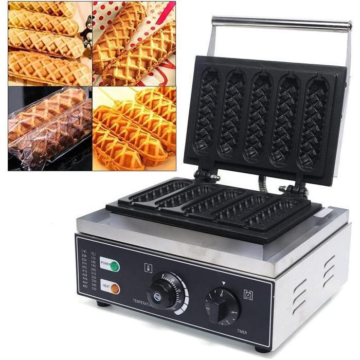 Gaufrier Hot Dog Commercial Gaufrier Électrique 1500W Machine à Gaufre Antiadhésive en Acier Inoxydable pour Boulangeries Restau141
