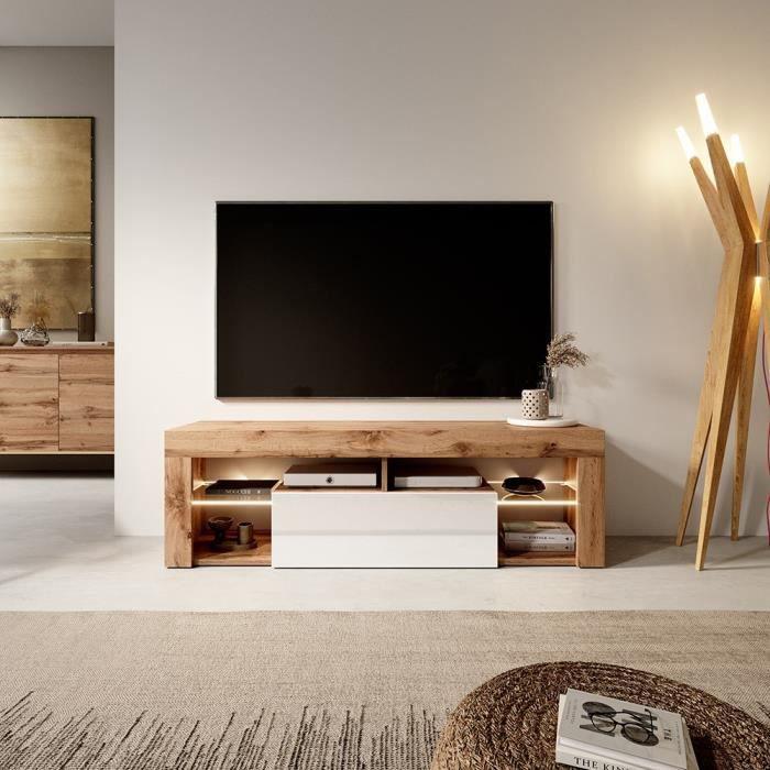 Meuble TV / Banc TV - BIANKO - 140 cm - chêne lancaster / blanc brillant - avec LED - style moderne - tablettes en verre