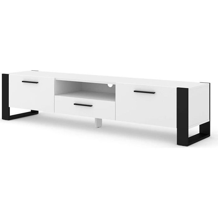 Mueble TV Stand Hi-Fi Nuka 200 cm Blanc Mat Salon Commode