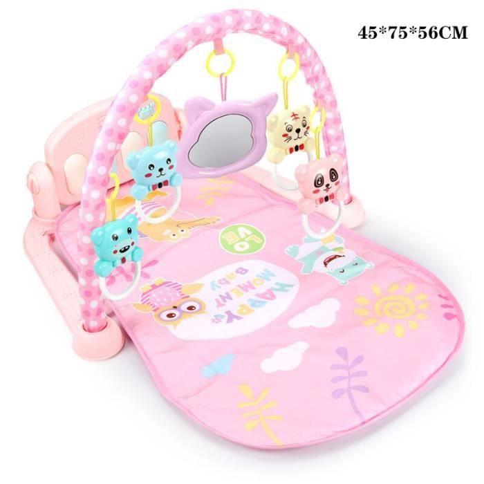 Tapis d'éveil,3 en 1 bébé tapis de jeu bébé jouets de gymnastique éclairage doux hochets jouets musicaux pour bébés - Type pink-3