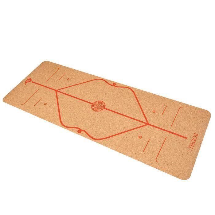 Tapis de Yoga 183X65cm 6mm TPE Antidérapant Anti-rides Sport Fitness Gym Exercice Rouge Modèle La63343