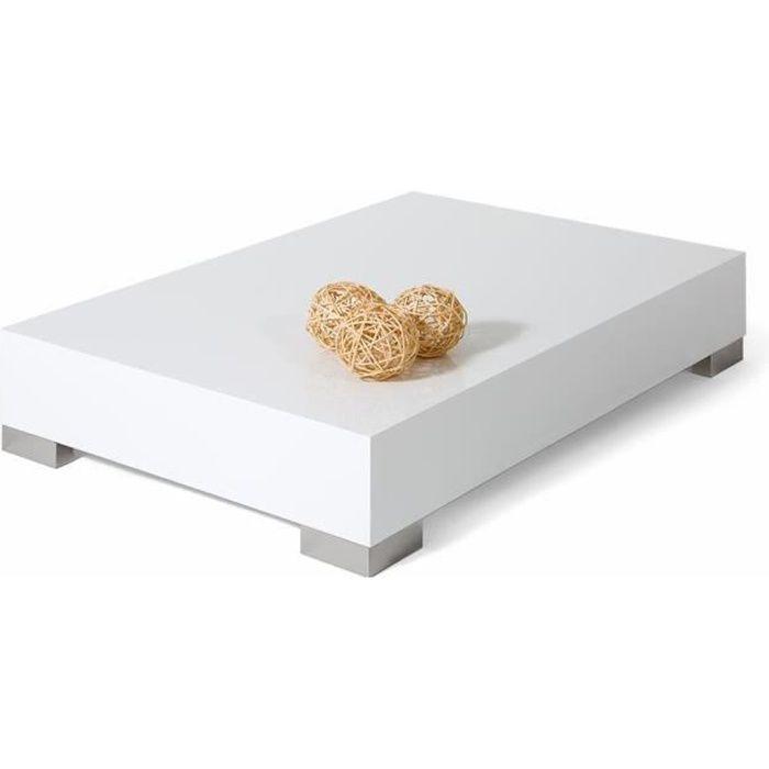 Mobili Fiver, Table basse, iCube 90, Blanc laqué brillant, Mélaminé/Acier INOX satiné, Made in Italy