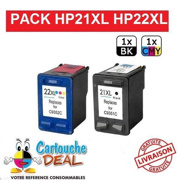 HP 21XL / HP 22XL - HP Deskjet 3920 3930 3940 D1360 D1560 D2345 D2360 D2400 D2460 Lot de 2 cartouches compatible HP21 HP22 XL