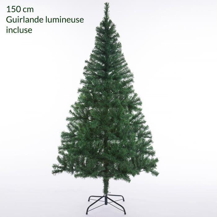 Sapin de Noël artificiel 150 cm 310 branches support arbre de noël décoration fêtes guirlande lumineuse incluse