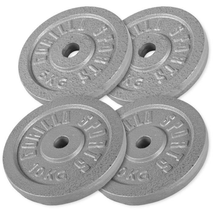 Gorilla Sports - Lot de 2 x 5kg et 2 x 10kg en fonte de diamètre 31mm