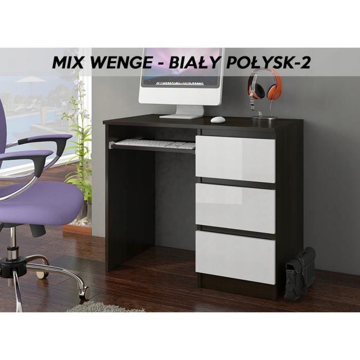 YORK 2WR- Bureau moderne informatique d'ordinateur 96x50x76 - Chambre Ado - Support clavier-3 tiroirs - Wengé Blanc