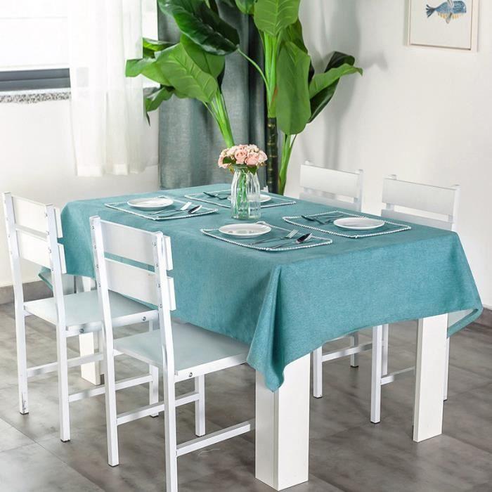 Nappe de Table Rectangle en Lin Couleur Unie Imperméable 140 × 160 cm Bleu vert