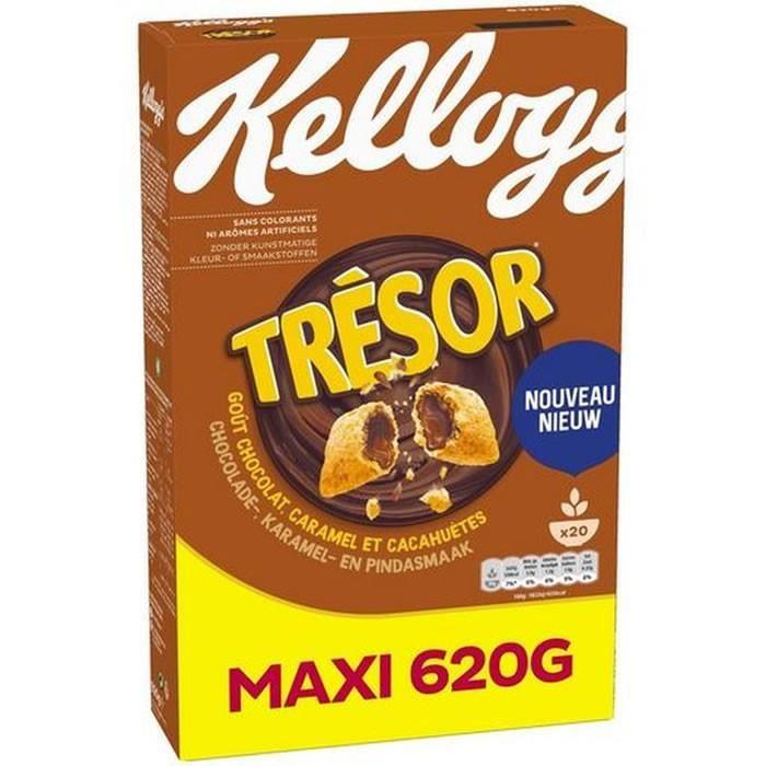 LOT DE 3 - KELLOGG'S TRESOR Céréales fourrées au Chocolat Caramel et Cacahuetes 620 g
