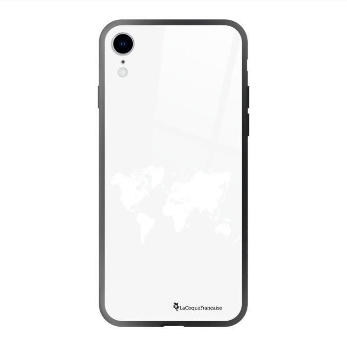 Coque en verre trempé iPhone Xr Carte du Monde Ecriture Tendance et Design La Coque Francaise