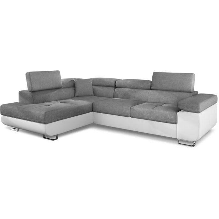 Canapé d'angle Antoni avec têtières relevables angle gauche simili Blanc et tissus Gris clair