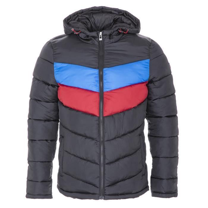 RIVALDI - Doudoune à capuche tricolore - Noir - Adulte Homme