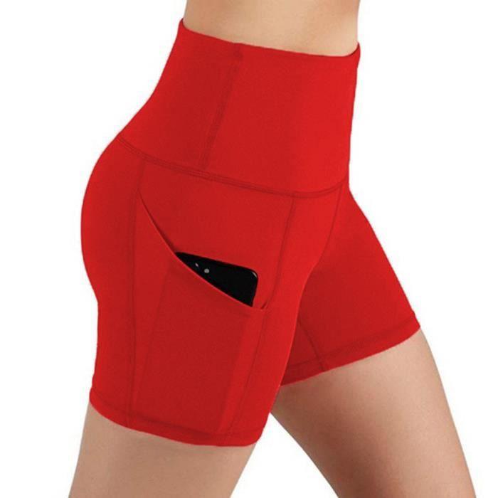 Lady Solid Pocket Taille haute Hip Stretch Slip Running Short de yoga de fitness Rouge_ener5007