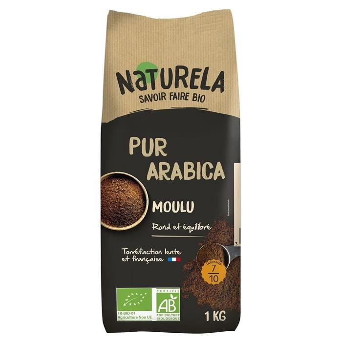 LOT DE 9 - NATURELA : Café moulu pur Arabica bio 1 kg