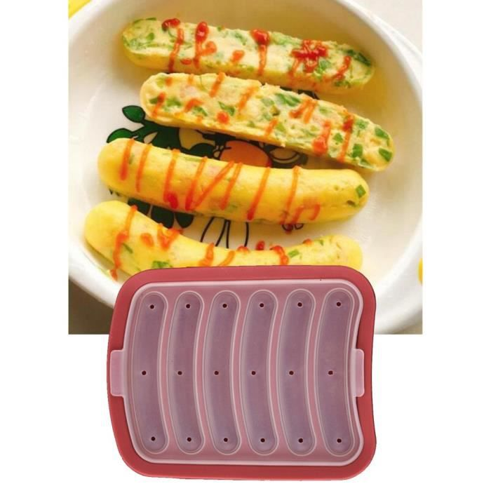 Moule en Silicone Anti-adhérent Moule à Saucisse DIY Fait Maison Jambon Hot-dog rouge