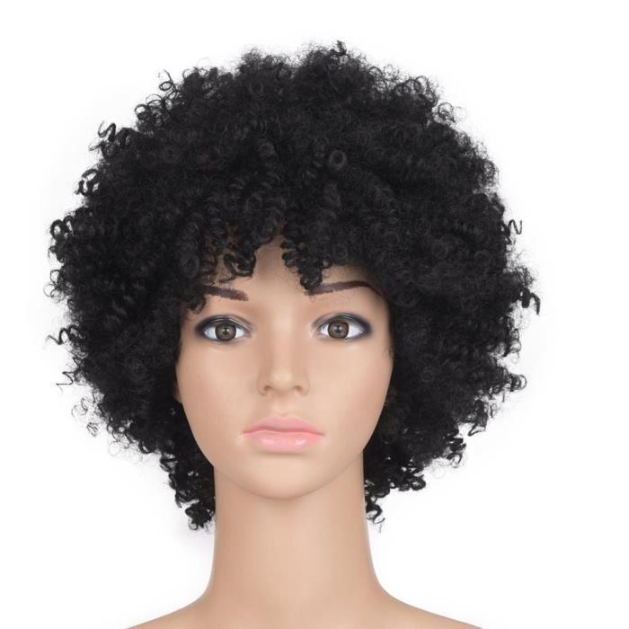 8-Noir Court Afro Kinky Curly Cosplay Costume Perruque de Fête Quotidienne pour Les Femmes Naturel Synthétique Chev#7802