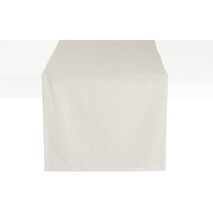 Chemin de table coton CEREMONY 50 x 150 Ivoire