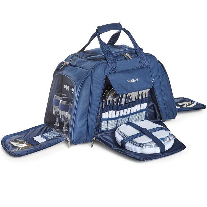 VonShef Grand Sac de Pique-Nique 6 Personnes - Compartiment Isotherme, Vaisselle et Accessoires de Picnic Inclus - Bleu Marine