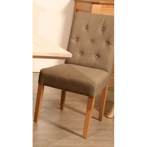 Chaise assise tissu taupe meuble house achat vente for Rempailler une chaise avec du tissu