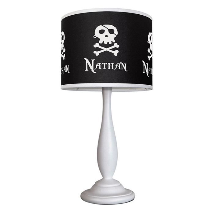 lampe de chevet noire et blanche little pirate achat. Black Bedroom Furniture Sets. Home Design Ideas