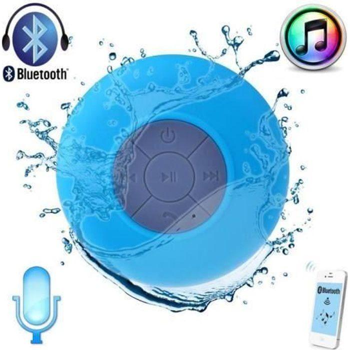 ENCEINTE NOMADE Enceinte bluetooth waterproof bleu ciel à ventouse
