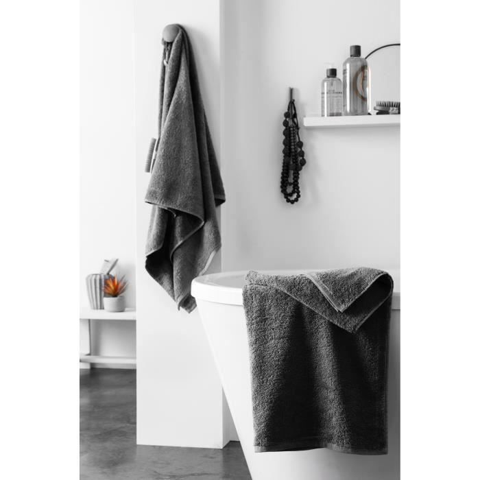 finlandek set de 2 draps de douche kylpy 70x140 cm anthracite achat vente parure de bain. Black Bedroom Furniture Sets. Home Design Ideas