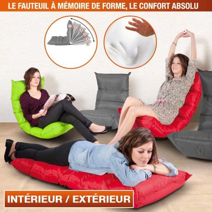 fauteuil modulable m moire de forme vert achat vente pouf poire cdiscount. Black Bedroom Furniture Sets. Home Design Ideas