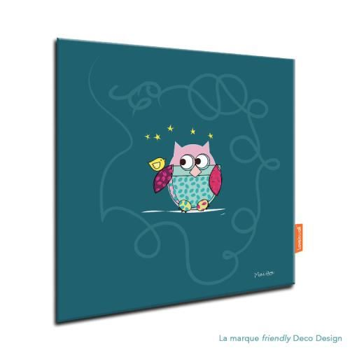 tableau hibou bleu canard d co chambre fille et gar on aluminium dibond 20x20 cm achat. Black Bedroom Furniture Sets. Home Design Ideas