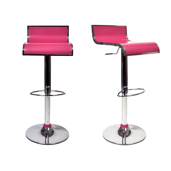 Tabourets de bar rose design waves lot de 2 achat vente tabouret de bar - Tabouret bar aubergine ...