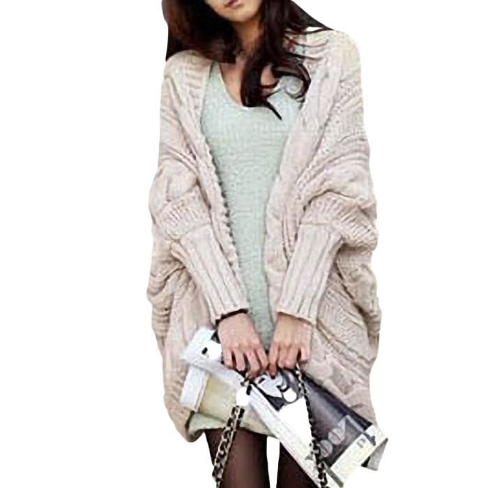 femme cardigan tricot pull manteau sweater beige beige achat vente gilet cardigan cdiscount. Black Bedroom Furniture Sets. Home Design Ideas