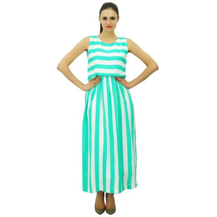 3bcd81a528c Bimba Femmes Robe Longue Manches Maxi Stripe Imprimer Rayonne Beach Holiday  Robes