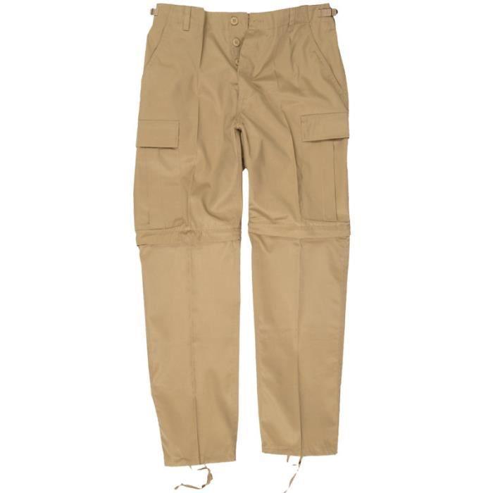 Mil-Tec Zip-Off Pantalon Type Bdu Pantalon Cargo Noir