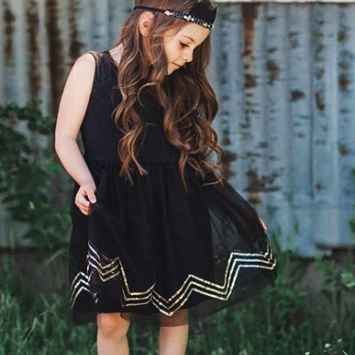 2 7 Ans Enfant Fille Robe Noir Mousseline De Soie Sans Manche Mode Vetement Ete Noir Achat Vente Robe Cdiscount