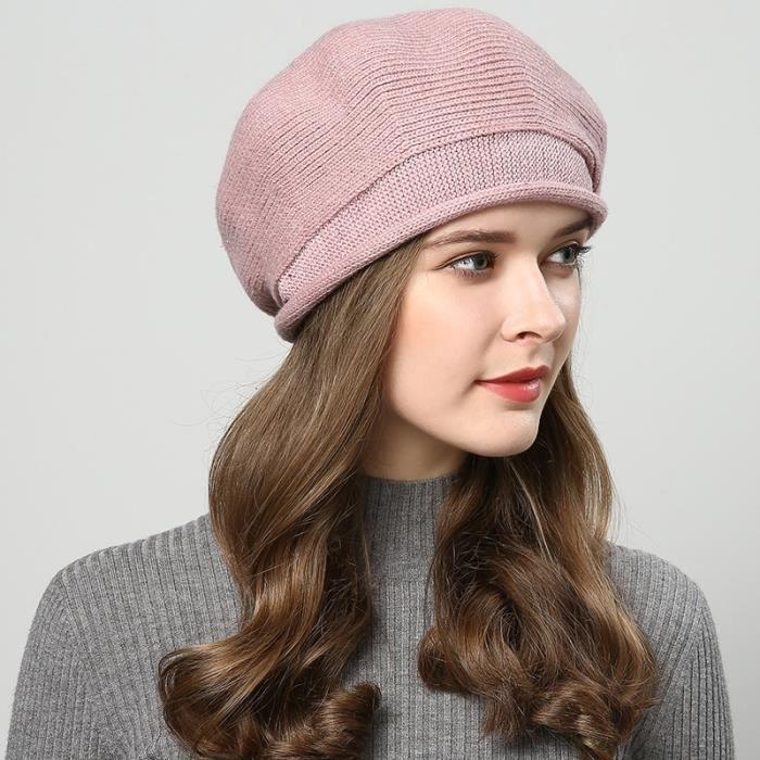 Clenp Beret fran/çais en laine Automne Style vintage Hiver Pour femme Couleur unie Chaud En laine