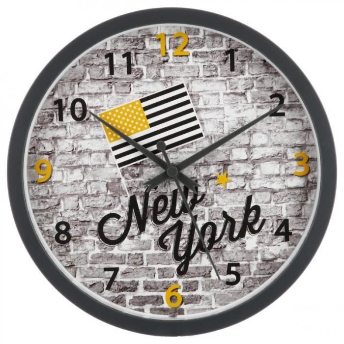 paris prix pendule murale new york 22cm gris jaune achat vente horloge pendule. Black Bedroom Furniture Sets. Home Design Ideas