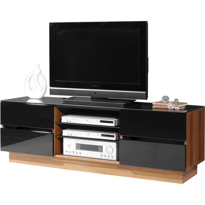 meuble tv avec 4 tiroirs coloris noyer noir l1 achat. Black Bedroom Furniture Sets. Home Design Ideas