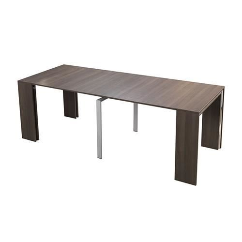 Table console extensible capri noyer 4 allonges salon - Console table a manger ...