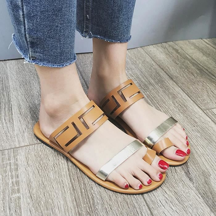Jaune Sandals Toe Summer Flops Femmes 7683 Hollow Flat Sexy uji Casual Clip Fashion Flip TwPaSw