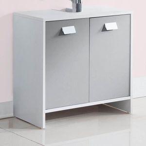 MEUBLE VASQUE - PLAN TOP Meuble sous-vasque L 60 cm - Blanc et gris mat
