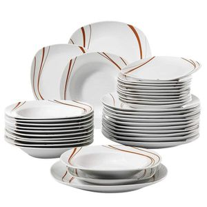 ASSIETTE Veweet BONNIE 36pcs Assiettes Service de Table Poc