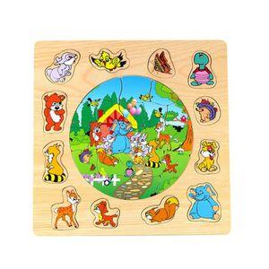 PUZZLE Enfants en bois début éducatif amusant Cartoon ani