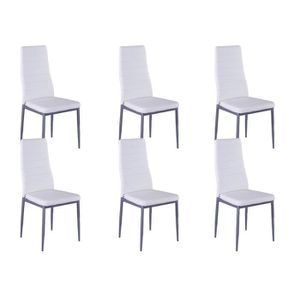lot de 6 chaises blanches achat vente lot de 6 chaises blanches pas cher cdiscount. Black Bedroom Furniture Sets. Home Design Ideas