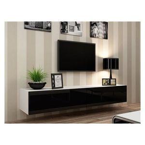 MEUBLE TV Meuble tv design suspendu Vito 180 blanc et noir