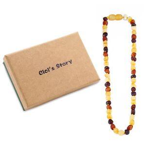 COLLIER AMBRE collier d ambre bebe(Multicolor Raw)(33cm) - Boite