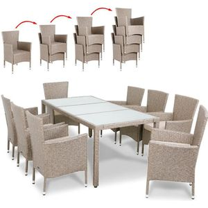 Ensemble table et chaise de jardin Salon de jardin polyrotin 17 pcs avec coussins crè