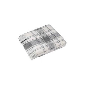 d4a11f3777c COUVERTURE - PLAID Plaid à Carreaux et Franges Gris 125 x 150 cm
