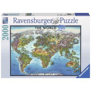 PUZZLE Ravensburger–Puzzle carte du monde–(2000pièce