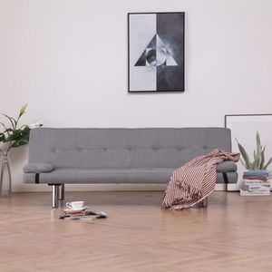 CANAPÉ - SOFA - DIVAN vidaXL Canapé-lit avec deux oreillers Gris clair P